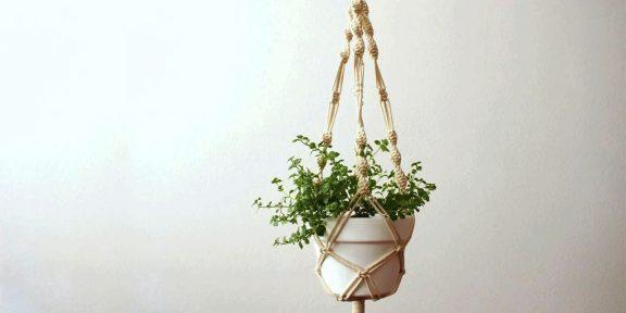 Лайфхак: как быстро подвесить цветочный горшок при помощи верёвки