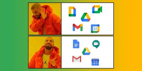 Путаетесь в новых однотипных иконках сервисов Google? Это расширение поможет вернуть старые